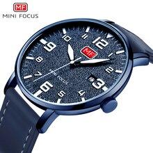 MINI FOKUS männer Armee Sport Quarz Uhren Lederband Wasserdicht Große Zahlen Armbanduhr Mann Relogios Masculino 0158 Blau