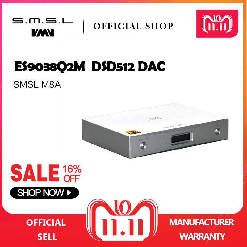 New SMSL M8A Native DSD512 HIFI Decoder Support DOP DAC ES9038 PCM768kHz Micro USB Amplifier Optical Coaxial Input RCA Output цены онлайн