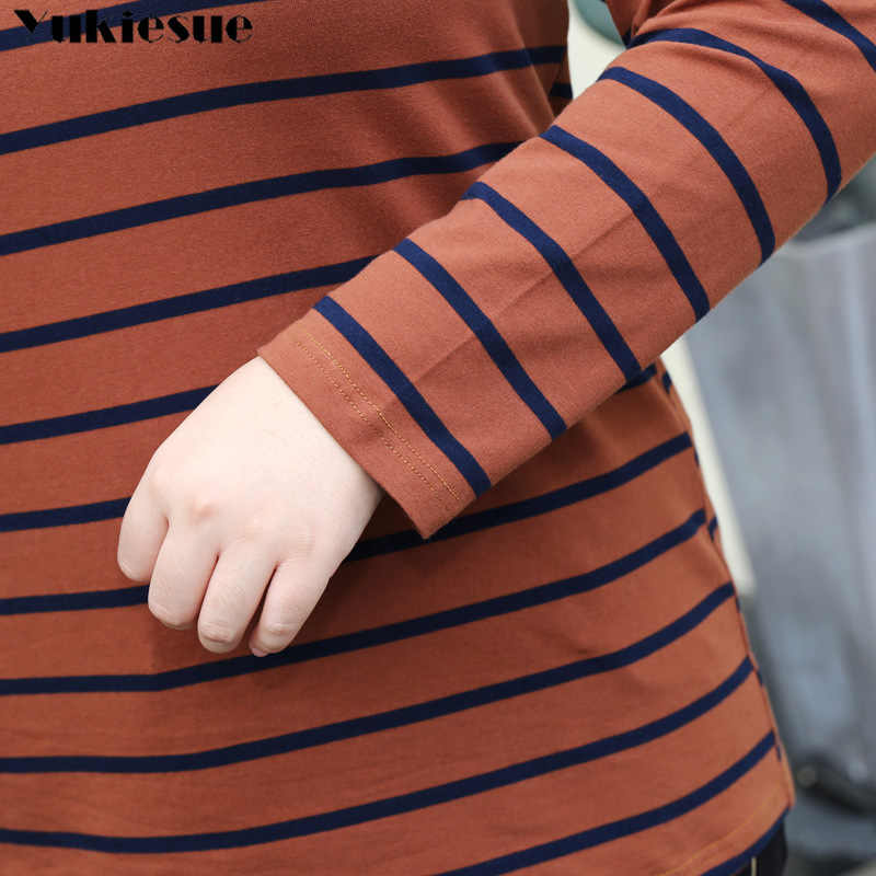 2019 סתיו נשי חולצה ארוך שרוול פסים נשים של חולצה כותנה חולצה חורף חולצות Tees Camisetas בתוספת גודל 5xl 6xl 7xl