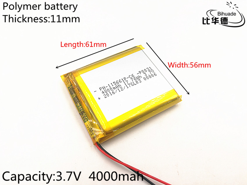 3 7V lithium polymer battery 115661 4000MAH Tablet PC navigation mobile power GIY 3 7v lithium polymer battery 601723 battery bluetooth headset battery length 23mm wide 17mm thick