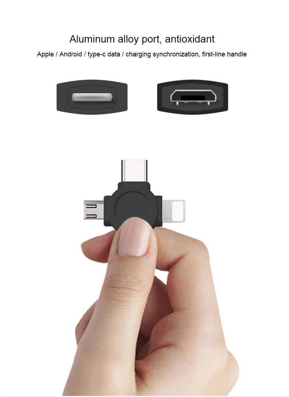 NOHON 3 in 1 USB Cable Type C Lighting Charge Cable For iPhone X 7 8 Plus IOS For Xiaomi Huawei Samsung Fast Charging Cables 1M (6)