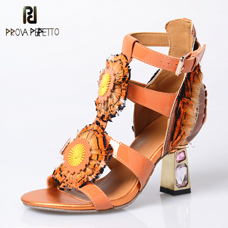 Prova Perfetto Peep Toe Ladies Shoes Sweet Rhinestones Flower Feather Women Sandals High Heel Real Leather Spell Color Sandals