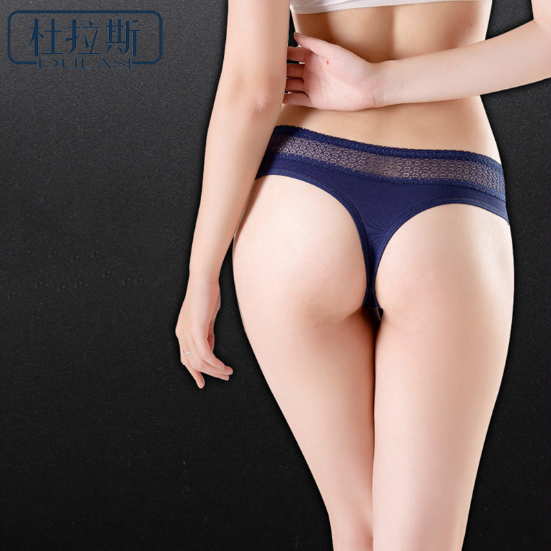 DULASI Sexy Lace Cotton G-String For Lady's Low Waist Hollow Out Underwear T-back Briefs Women Seamless Thong   Panties   2018 New