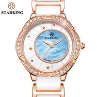 STARKING Famous Brand Sapphire Ceramic Watch Women White Vintage Quartz Women Dress Watch Luxury Rhinestone Wrist