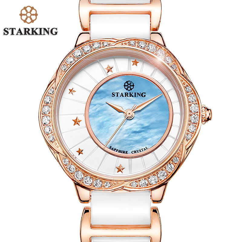 STARKING Famous Brand Sapphire Ceramic Watch Women White Vintage Quartz Women Dress Watch Luxury Rhinestone Wrist Watch Horologe new fashion women watch famous brand princess butterfly ceramic band watch cool bussiness wrist watch