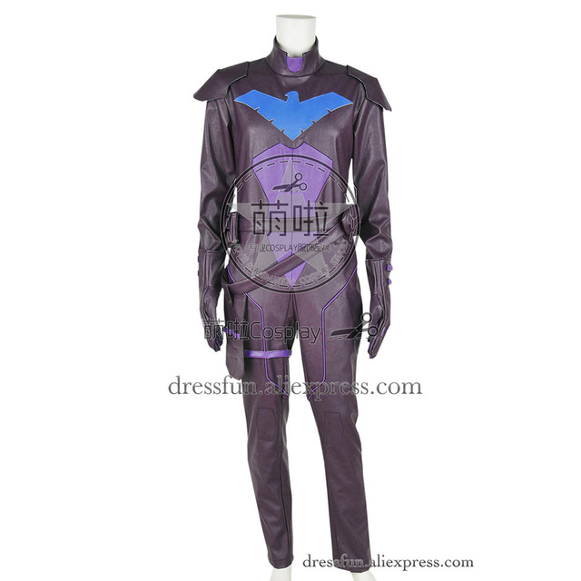 0be9d806b83e Young Justice Cosplay Nightwing Costume New Cool Outfits Uniform Jumpsuit  Leather Version Halloween Fashion Party Fast Shipping