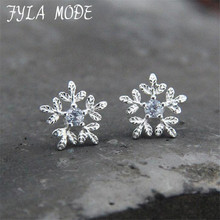 Fyla Mode Top Quality Snowflakes 925 Sterling Silver Earring Fashion Jewelry Austrian Crystal Wholesale FYS042