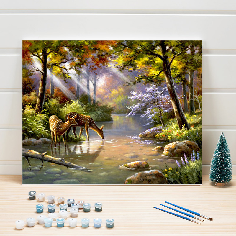 Paint Oil Painting By Numbers Landscape Animals Deer DIY Acrylic Canvas Coloring Art Wall Pictures For Living Room Decor Adults