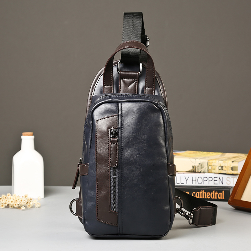 The new PU chest pack man Satchel Shoulder packet male cool style pocket