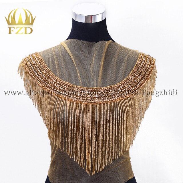 Fzd 1 Piece Handmade Beaded Crystal Rhinestone Patches For Wedding Dress Diy Bridal Applique With Gauze