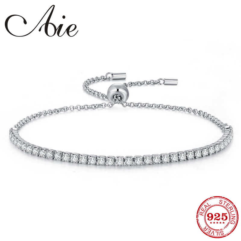 Fashion 925 Sterling Silver adjustable Charm Bracelets With Sparkling like crystal zircon  For Woman Jewelry Gift