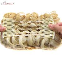 S-noilite 80g elastyczna siatka z grzebieniami kręcone Chignon Updo okładka włosy syntetyczne dla kobiet wysokiej temperatury włókna czarny brązowy kolor