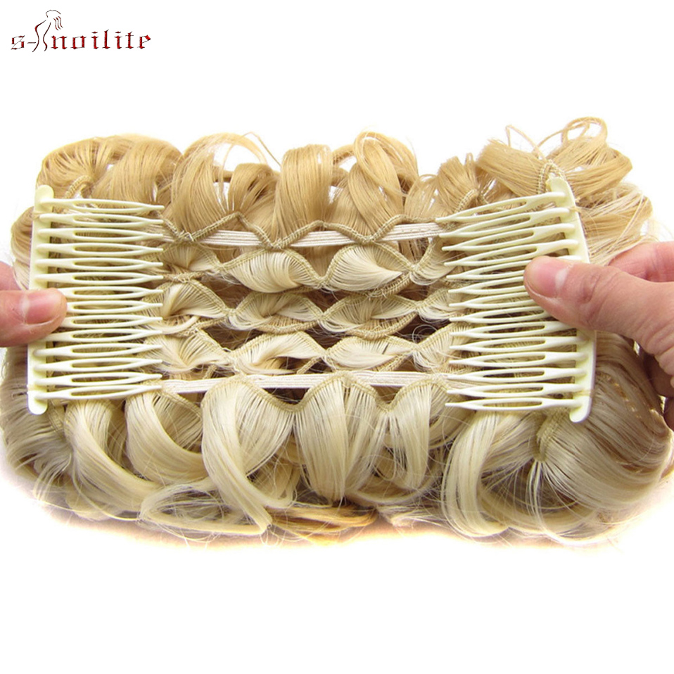 S-noilite 80g Elastic Net With Combs Curly Chignon Updo Cover Synthetic Hair For Women High Temperature Fiber Black Brown Color