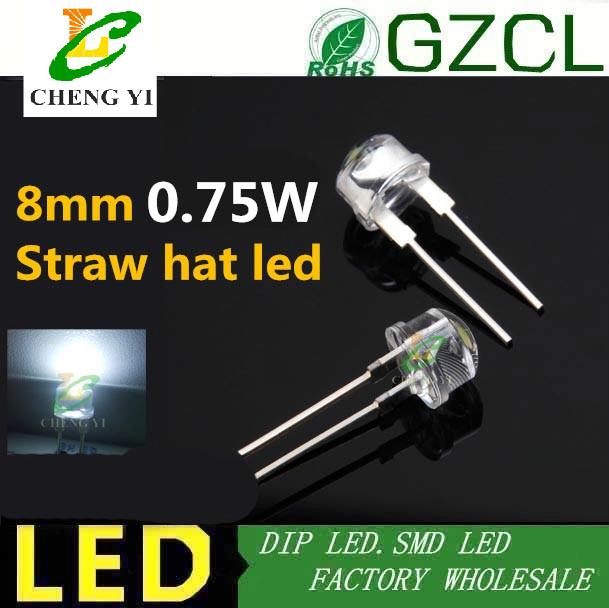 8mm Straw Hat Led: Free Shipping 0.75w High Power Dip Led 15000MCD 8mm Straw