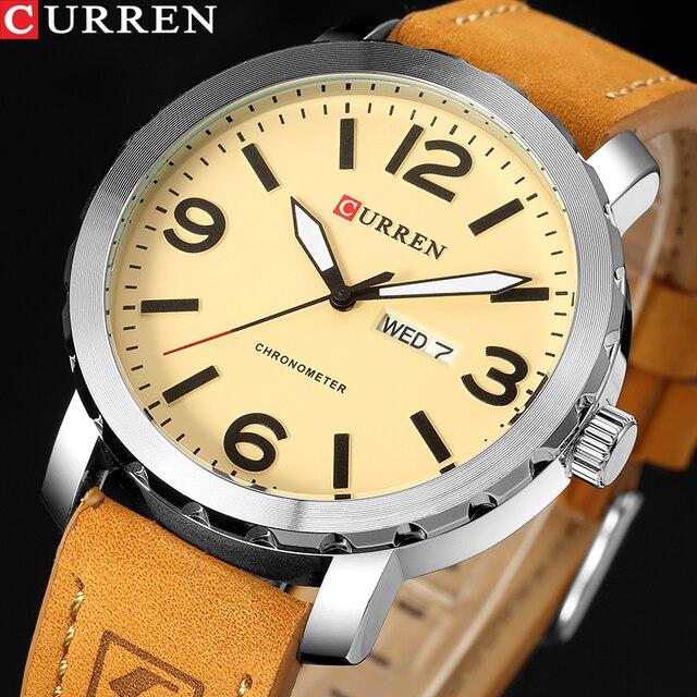 CURRENファッションメンズ腕時計militrayスポーツクォーツ腕時計革防水男性腕時計レロジオmasculino