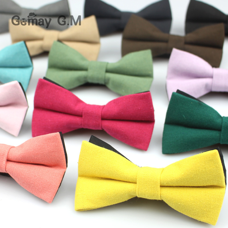 Fashion Solid Bowtie For Men Brand Linen Bowties Casual Business Suits Bowknot Bow Tie Ties Wedding Party Cotton & Linen Bowknot