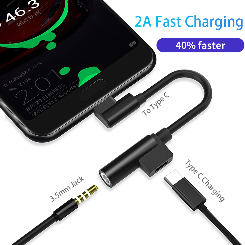 2 in 1 Quick Charge Type C 3 5mm AUX Adapter For Smart Phone Audio USBC