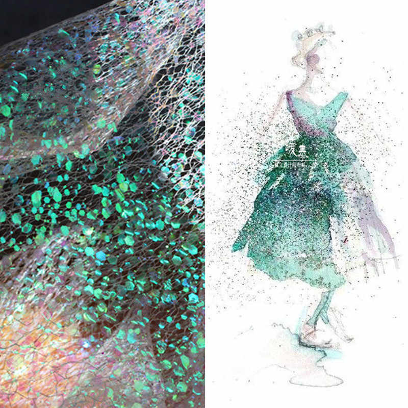 Creative Golden Mermaid Mirage Design Small Fragments Laser Sequins Mesh Fashion Background Fabric