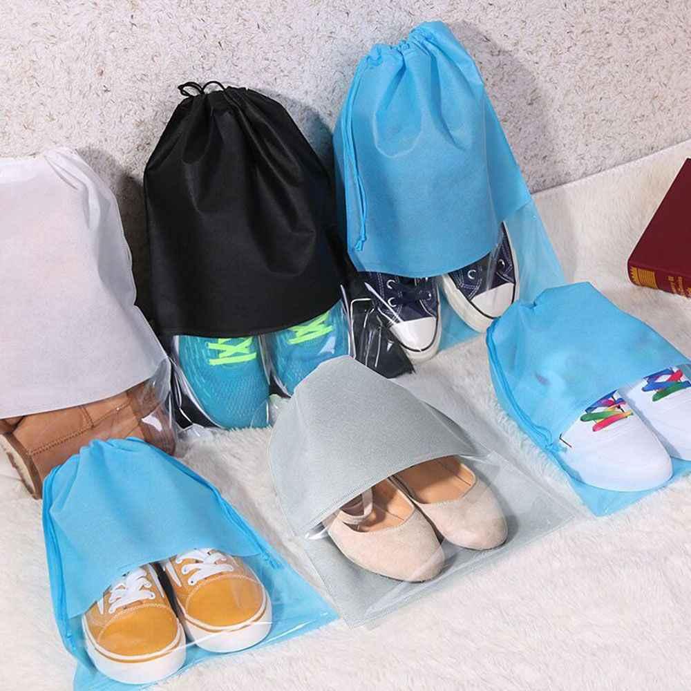 1 S/L Chống Thấm Nước Giày Dép Túi Bảo Quản Túi Du Lịch Xách Tay Người Tổ Chức Túi Dây Rút Bao Vải Không Dệt Giặt nhà Tổ Chức