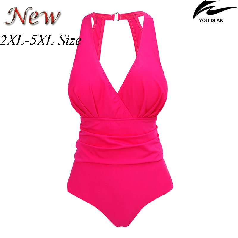 2017 new swimwear one piece women plus size swimsuit large size swimming suit for fat women beachwear bathing wear women one piece triangle swimsuit cover up sexy v neck strappy swimwear dot dress pleated skirt large size bathing suit 2017