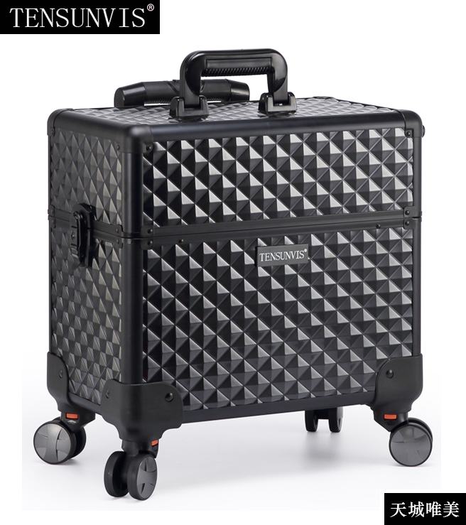 TENSUNVIS Makeup Case aesthetic black professional universal wheels trolley cosmetic box makeup case the best beauty case tensunvis makeup case aesthetic black professional universal wheels trolley cosmetic box makeup case the best beauty case black