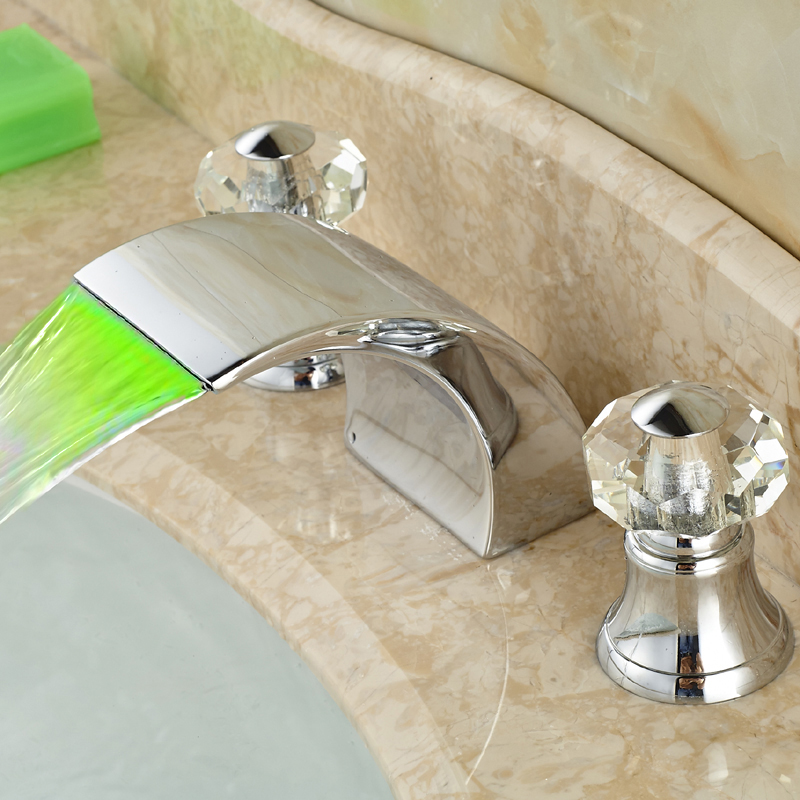 Chrome Finish Wash Basin Countertop Mixer Taps Waterfall Spout with LED Light Faucet