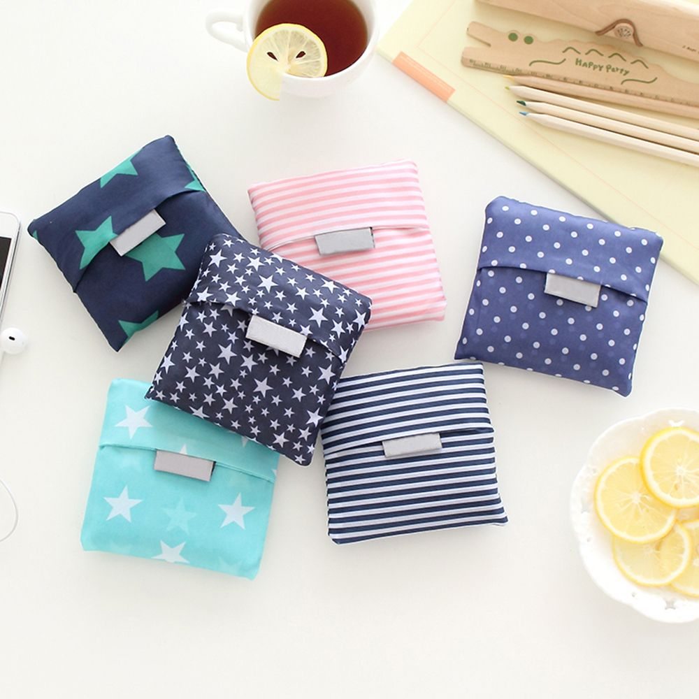 6 estilo nueva moda de impresión plegable verde bolsa de compras bolsa de mano plegable bolsos cómodos de gran capacidad bolsas de almacenamiento