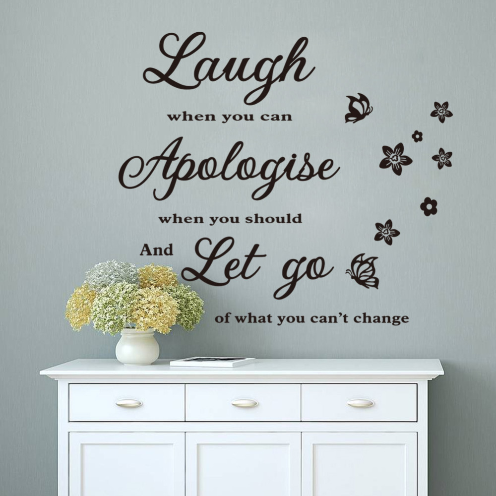 Wallpaper Laugh Apologize Let Go Letters Waterproof Vinyl Wall ...