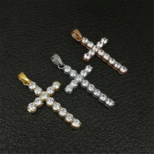 лучшая цена Hip Hop Stainless Steel Gold Color Cross Pendant Necklace Iced Out Rhinestone Crucifix Necklace Christian Jewelry With Box Chain