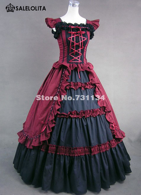 Новое поступление и высокое качество, черный и красный цвета Готический, викторианской эпохи платье