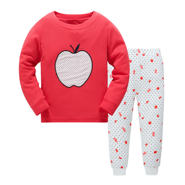 b71a114912f1 2019 New Fashion Cute 2pcs Baby Girl Kids Red Apple Tops Pants Sleepwear  Nightwear Pajama Sets Outfits
