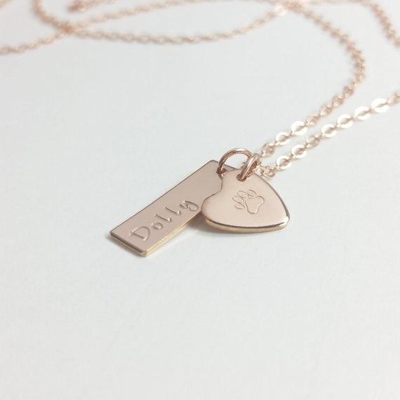 Pet souvenir collier personnalisé chien collier collier empreinte de patte chien patte personnalisé chien bijoux avec cadeau sac YLQ0353