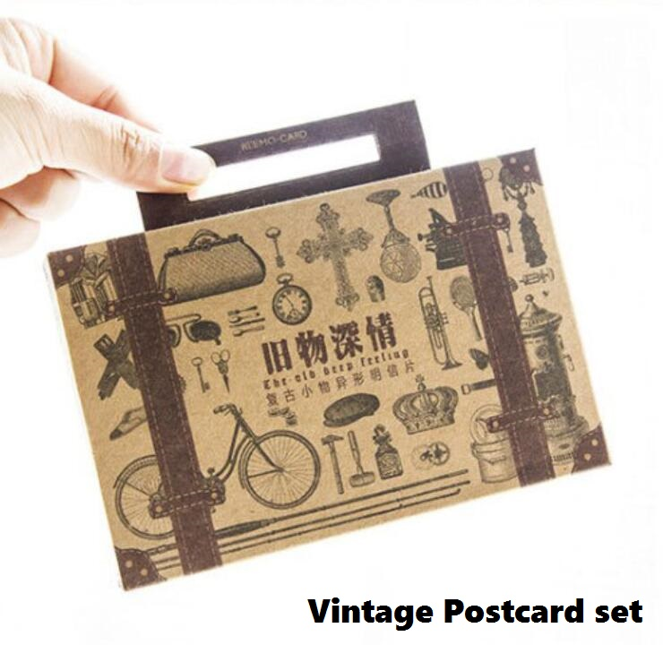 4 Pack/lot Vintage Memory Postcard set  Greeting Card Students diy Christmas Card Birthday Card Gift Cards Bookmarks