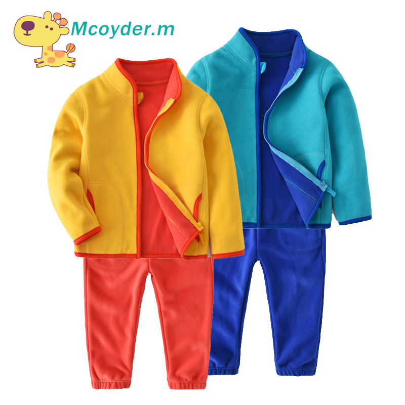 цена на Kids Sport Suit for Girls Autumn Soft Fleece Jacket + Trousers 2pcs Clothing Set Kids Tracksuit for Boys Children School Outfits