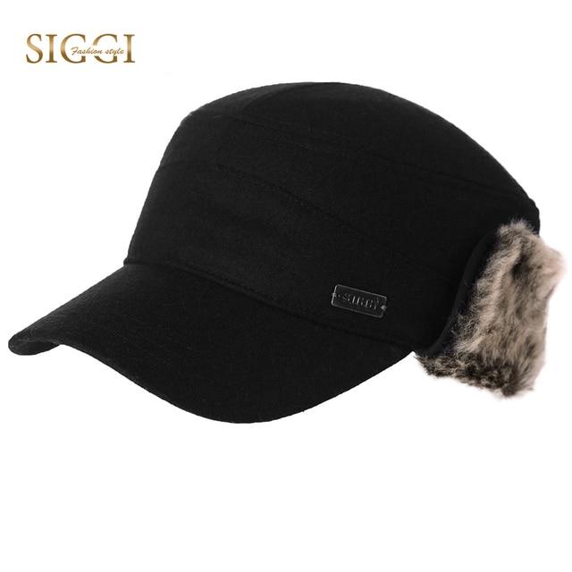 SIGGI Winter Men Military Hats Warm Earflap Wool Earmuff Protection Caps  Dad Hats For Women Unisex Russian Casquette Gorro 89506 8cb2ed369fb