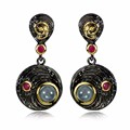 Hot Design Ethnic Women Drop Earrings Round Disk Black Gold Plated Fuchsia Cubic Brass Metal Nickle Free Lead Free Fashion Gift