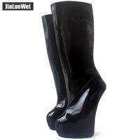Jialuowei/Новые пикантные сапоги до колена на очень высоком каблуке 20 см, с молнией сзади, в необычном стиле