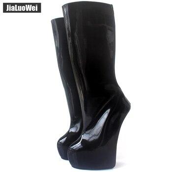 265ae729830 Jialuowei 20 cm extrema de tacón alto con cremallera trasera fetiche  extraño estilo único sin tacón Ponyplay plataforma rodilla-alta ballet botas