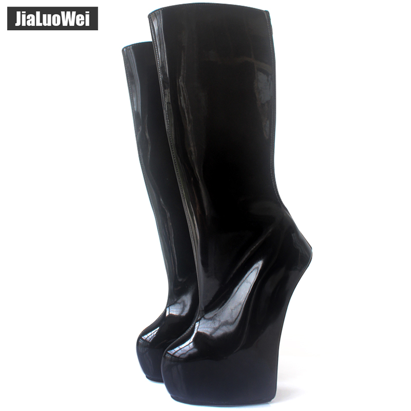 55e4e185092 jialuowei New 20cm Extreme High Heel back Zip Sexy Fetish Strange Style  Sole Heelless Ponyplay Platform Knee-High Ballet Boots