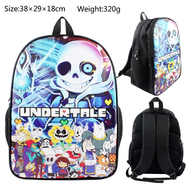 Anime Undertale PU & Canvas Colorful Laptop Backpack Travel Double-Shoulder Bag School Bag