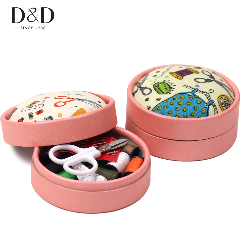 Portable Home Travel Sewing Kits Box Sewing Pattern Fabric Pincushion Needle Threads Scissors Sewing Tools Accessories