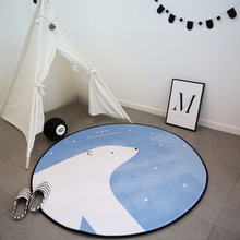 Kids Cartoon Bear Round Carpet Computer Chair Floor Mat Home Room Children Play Tent Area Rug Soft Carpets Bedroom