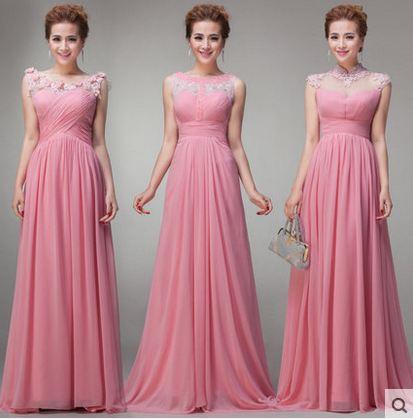 vestido de festa casamento 2018 Lace cap sleeves 3 Style a Line blush bridesmaid dresses long plus size robe dentelle