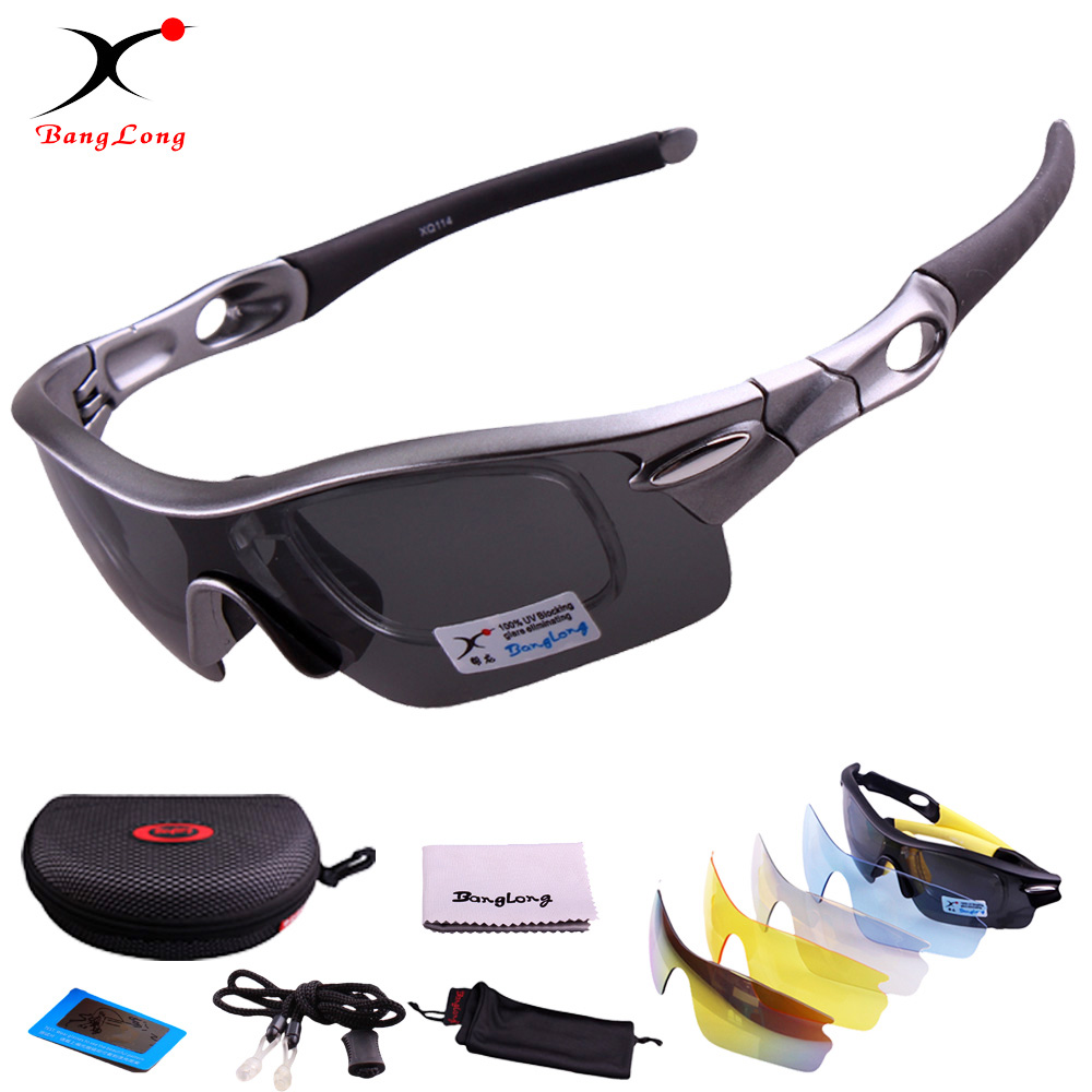 Varm! BANGLONG Brand Designer Polariserade Cykelglasögon Professionella UV400 Outdoor Sportsögon Windproof Cykelögon 5 Lins