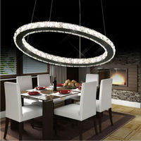 Free Shipping Single Ring Crystal Led Pendant Light Dia20 30 40 50 60cm Hotel Minimalist