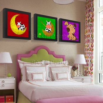 Free Shipping Canvas Wall Art Handpainted Oil Painting 3 Pieces Set Modern Cartoon Animal Paintings