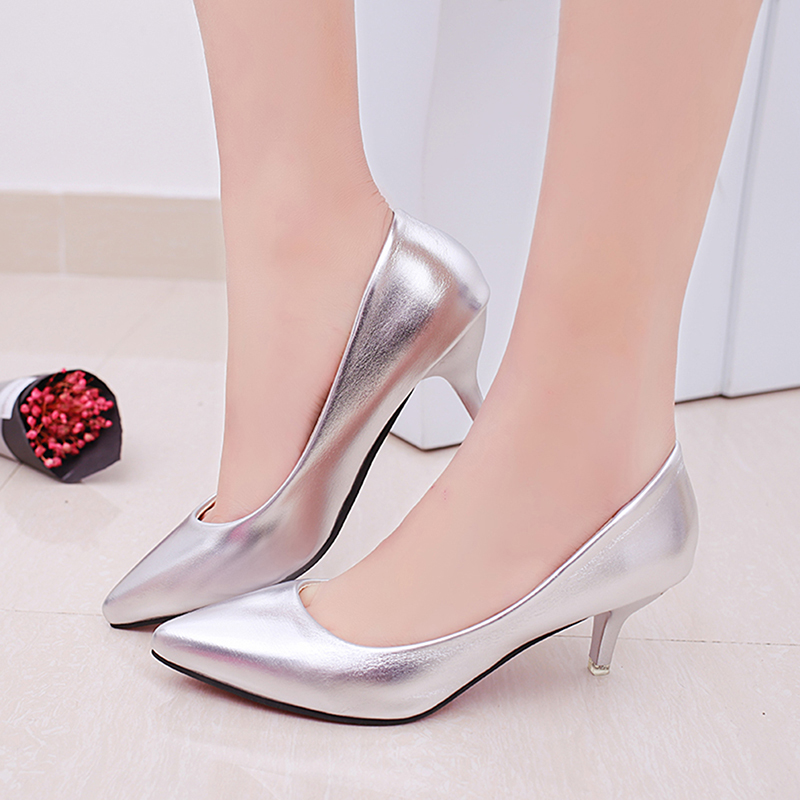 GAOKE Fashion Office Work Pumps Women Shoes Elegant Heeled Women Stiletto Party Pointed Toe Patent Leather Thin Heels Shoes