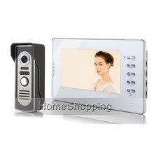 Бесплатная доставка проводной 7 «Цвет Видеодомофоны телефон двери Системы 1 белый Мониторы + 1 Водонепроницаемый Дверные звонки Камера в наличии оптовая продажа