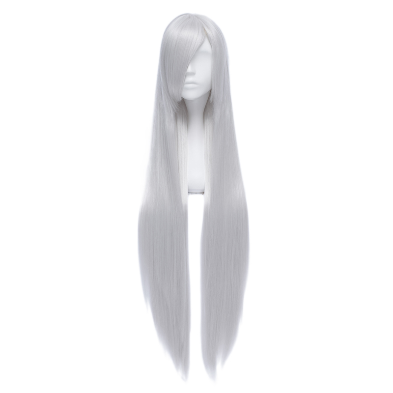 100cm Long Straight Silver White Anime Party Cosplay Full Wig Heat Resistant+cap Products Are Sold Without Limitations