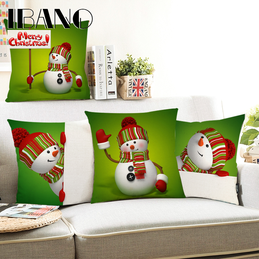 Merry Christmas Cushion Covers Cotton Linen Printed Decorative Cushion Cover Pattern Throw Pillow Case Covers Car Seat 45*45cm ...